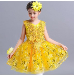 Girls gold jazz dance dresses sequin flower girls princess dress costumes host singers host model show performance dresses